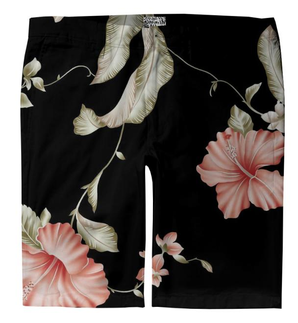 Black Floral Shorts Trousers