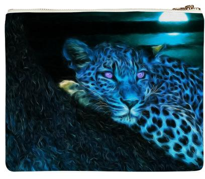 Blue Abstract Leopard Neoprene Clutch