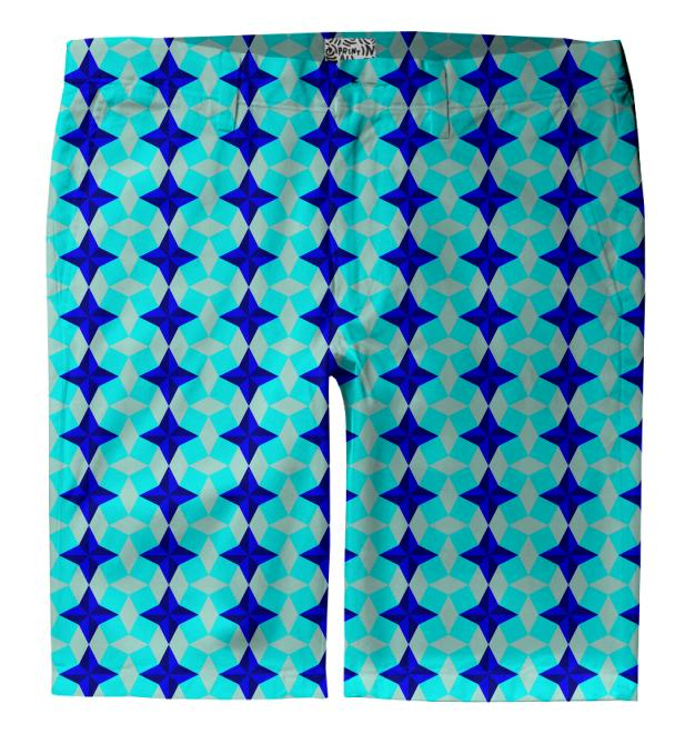 Blue Star and Square Seamless Pattern