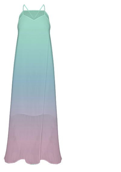 Green Blue Pink Gradient Maxi Dress