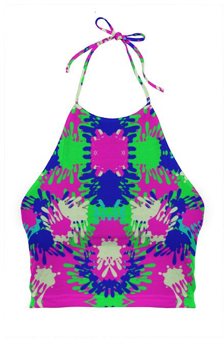 Pink Neon Green Paint Splatter Halter Top