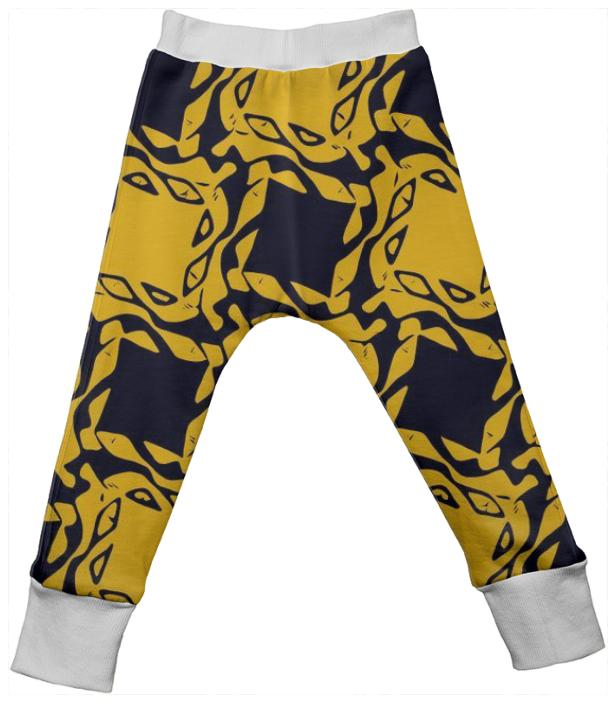 Yellow Black Geometric Kid s Drop Pants