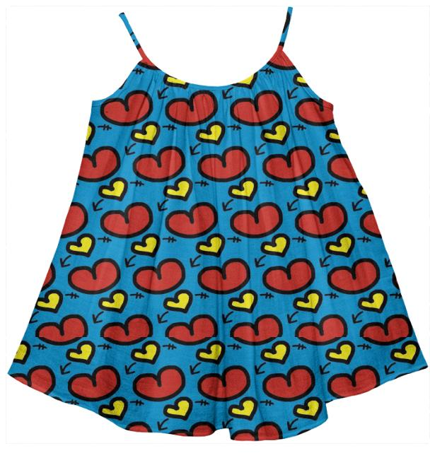 Adorable Red Hearts Kids Doodle Tent Dress