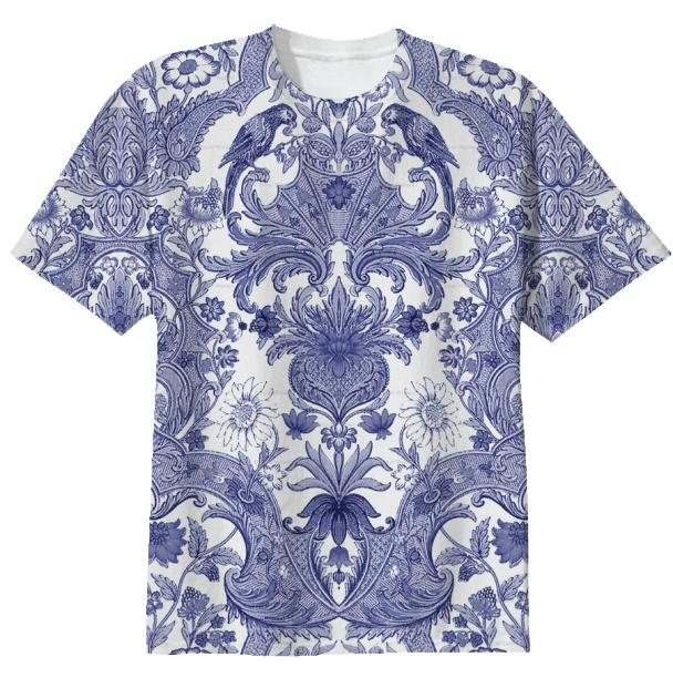 T shirt BLUE WHITE ASIAN DAMASK
