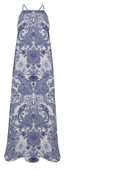 Blue White Asian Damask Print Dress