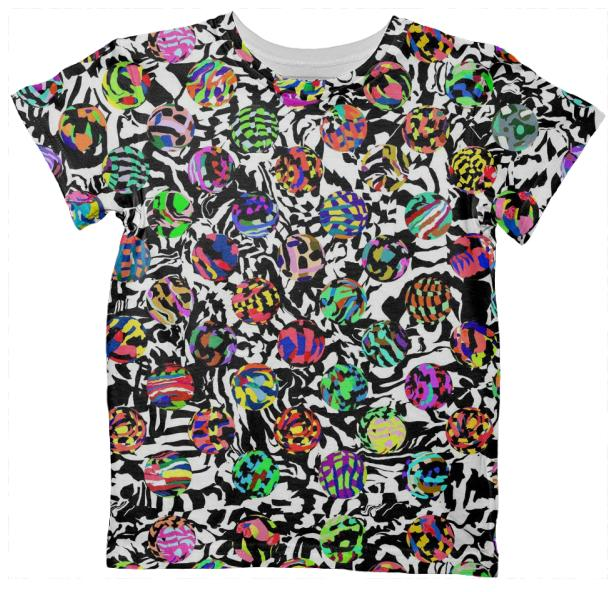 KIDS T SHIRT TOP IN DOTS ON WARPED CHECKERS