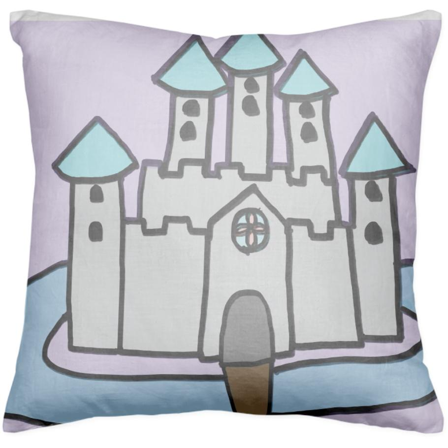 The Castle I Made For Class in purple pillow