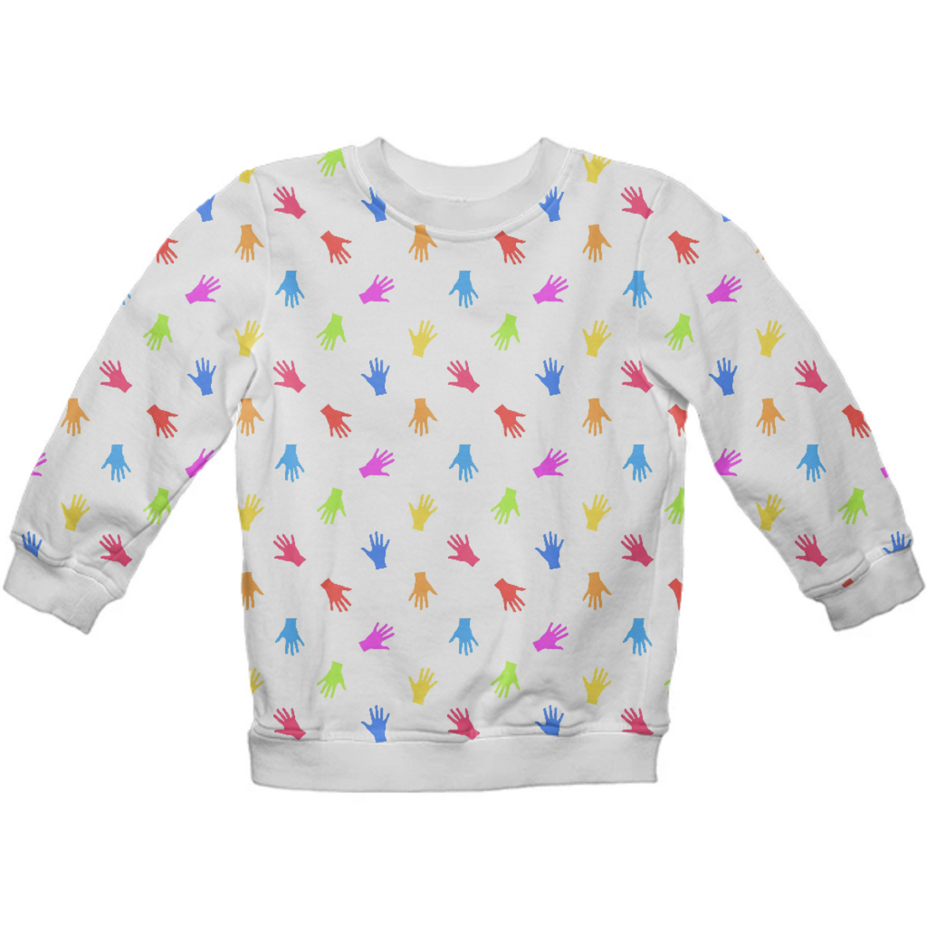 Multicolored Hands Silhouette Motif Design