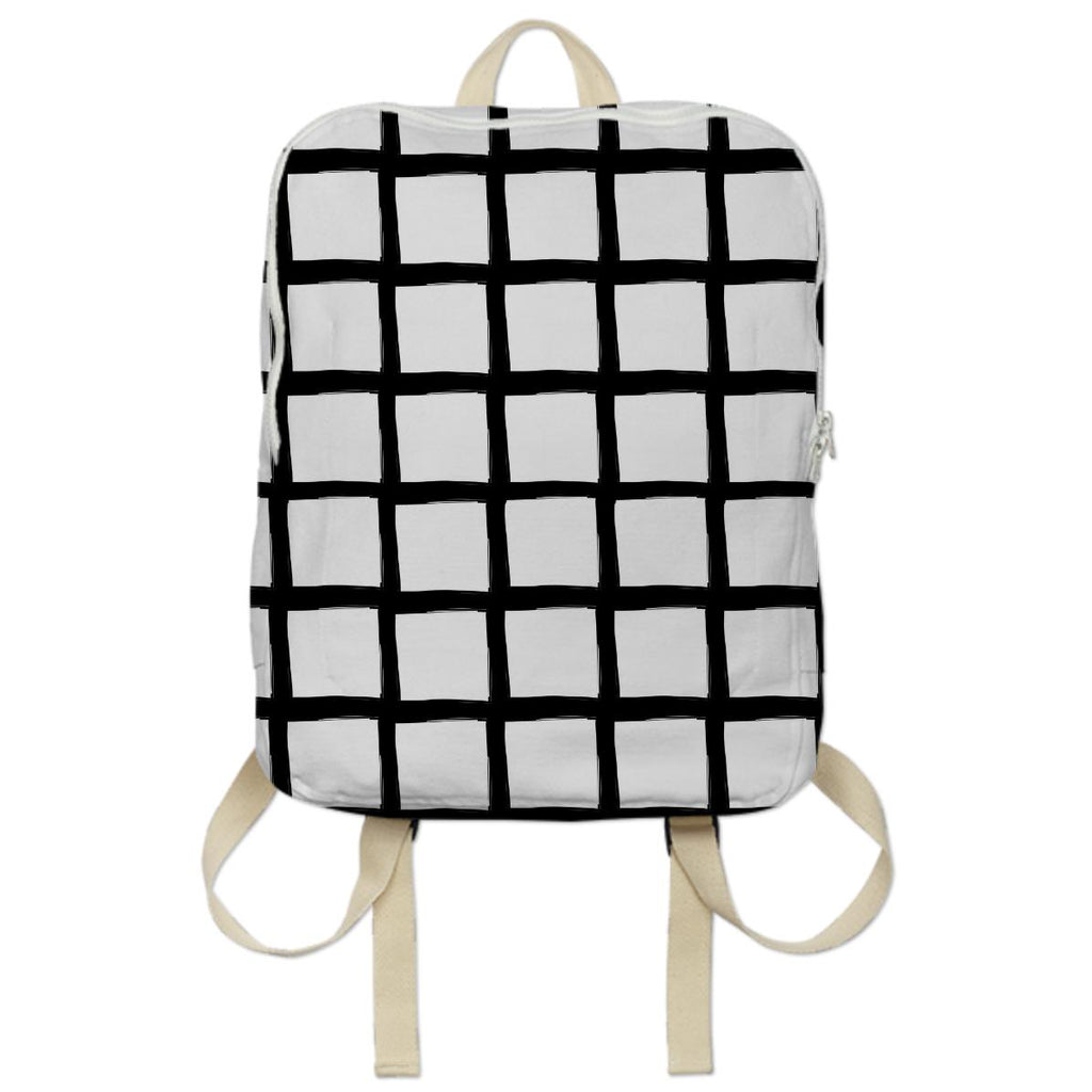 Black and White Grid Bookbag Backpack
