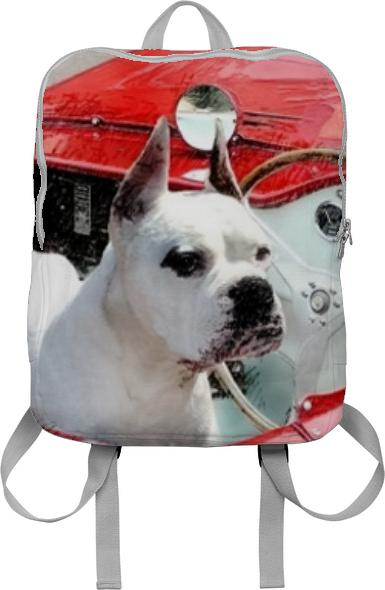 Boxer Dog in Red Sportscar backpack