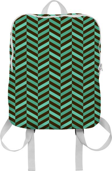 Geometric Abstract Chevron Mint Green and Brown