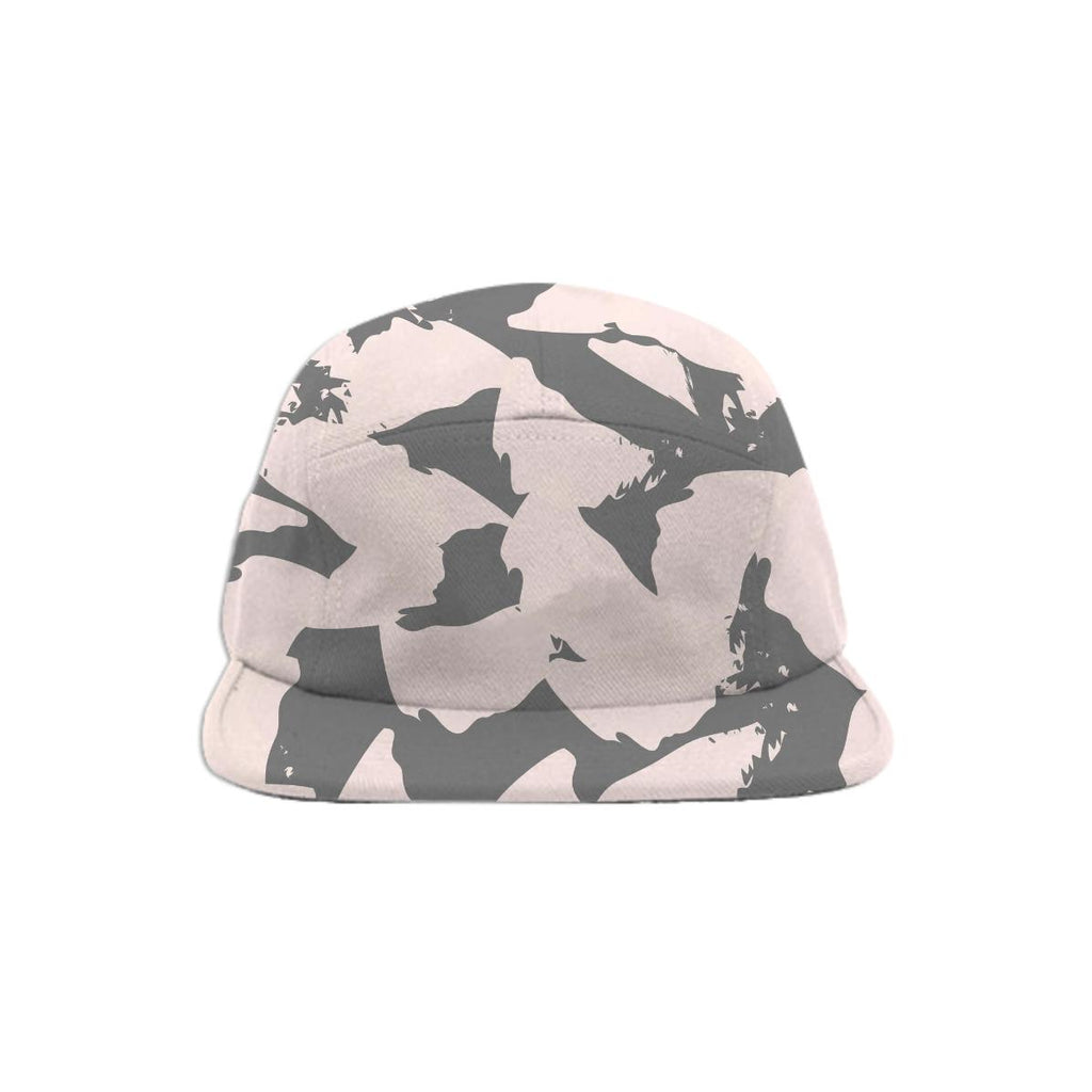 Pastel Pink Bird Wings on Gray Baseball Hat