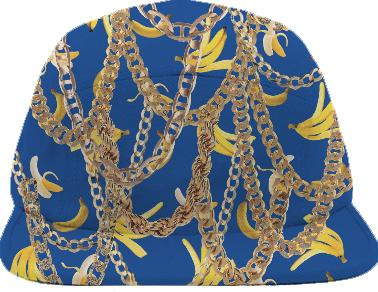 Banana Chainz Gold Black Hat Blue
