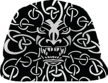 Black and white tiki and knot design