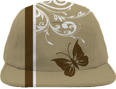 Stylish butterfly and swirls in brown s and white