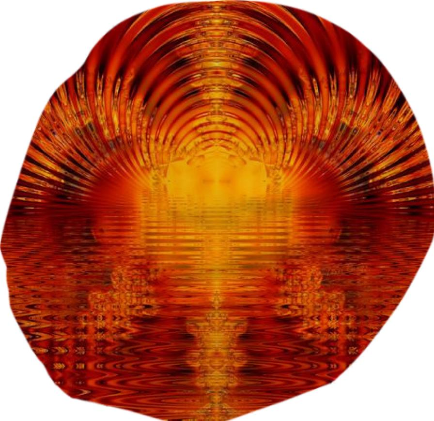 Abstract Fractal Golden Red Tunnel of Light