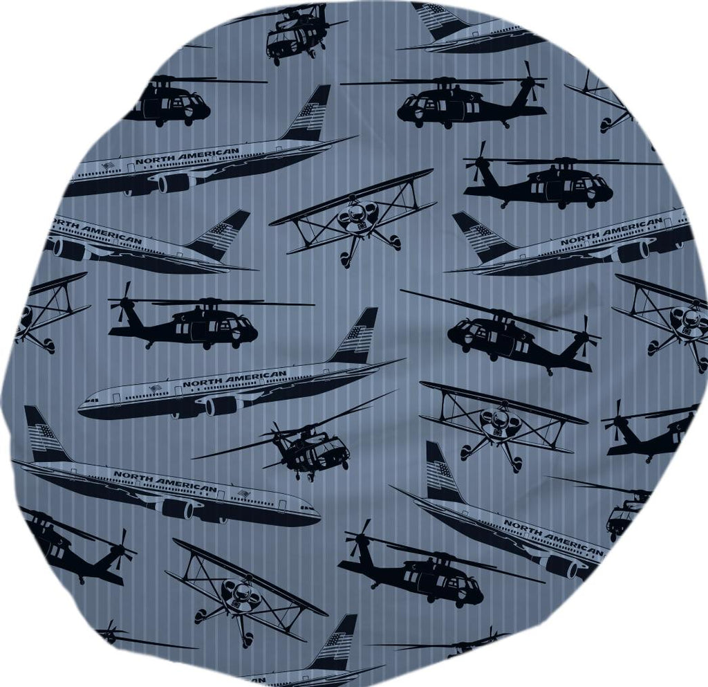 Airplanes and Helicopters on Denim Blue Stripes