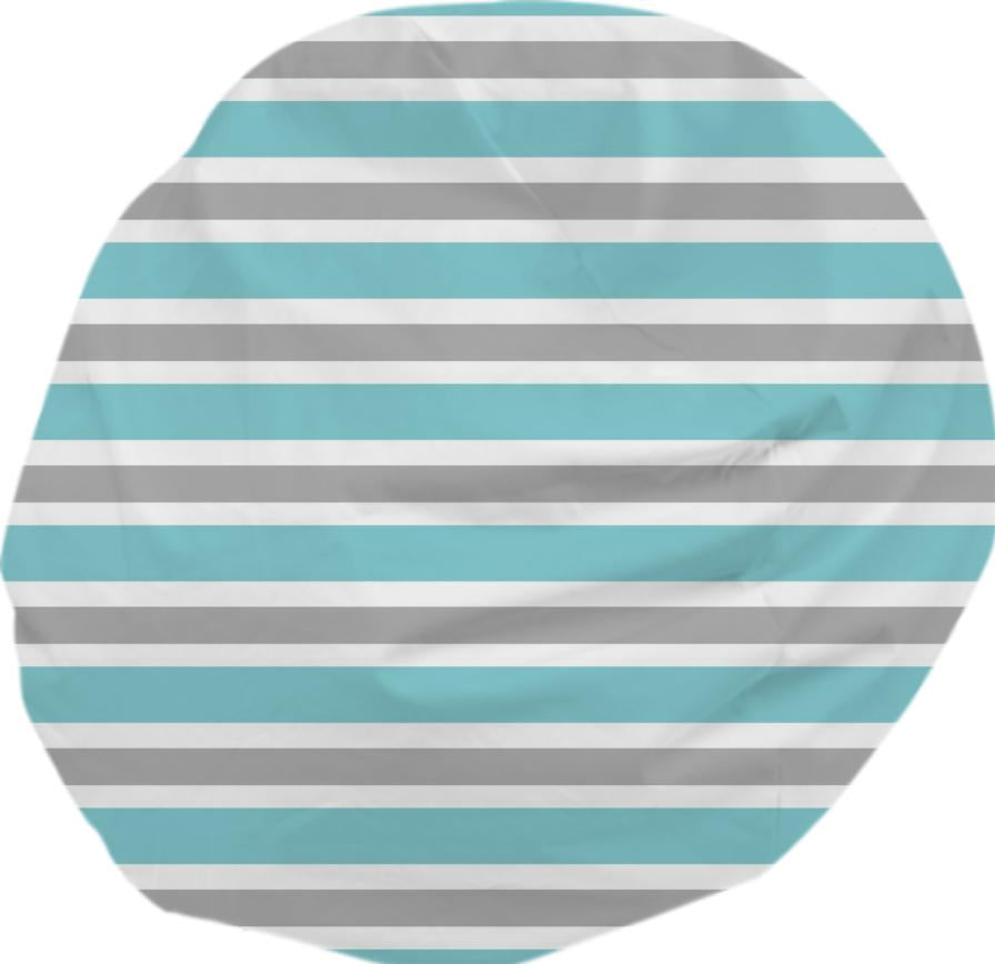 Blue Gray And White Stripe Bean Bag