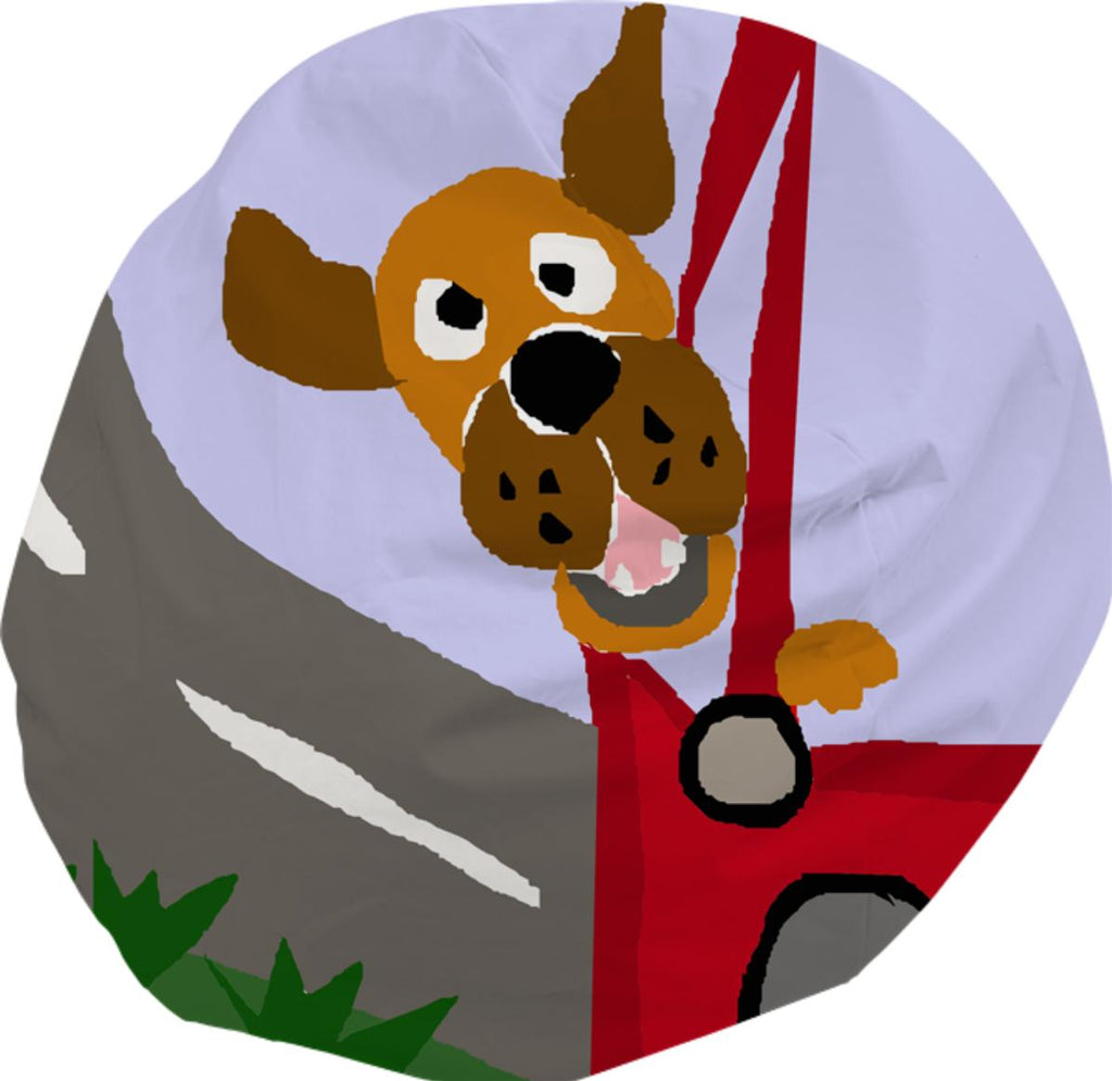 Funny Puppy Dog Riding in Red Car Pop Art Bean Bag