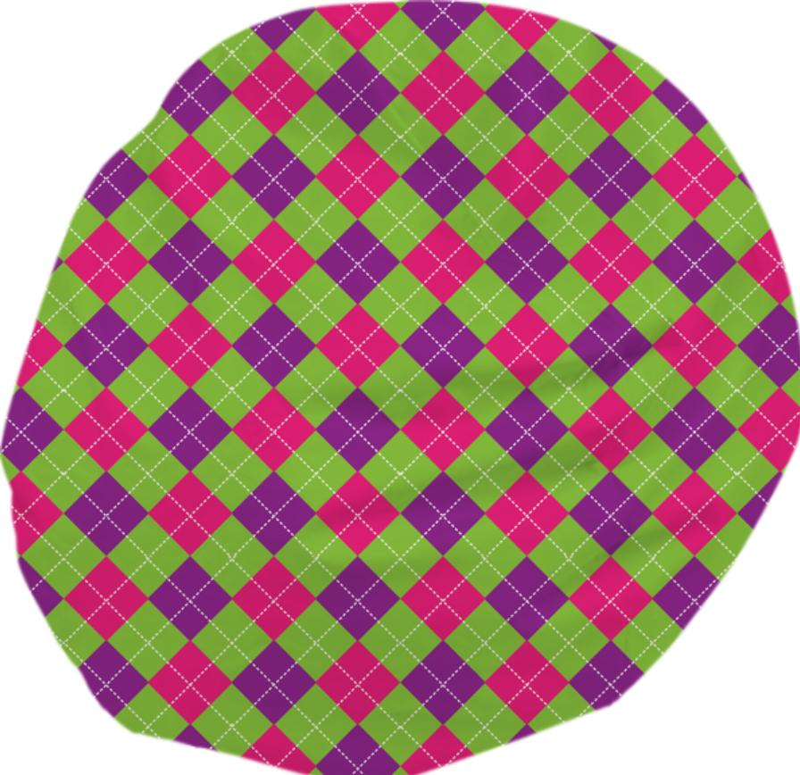 PINK PURPLE GREEN ARGYLE PATTERN BEAN BAG