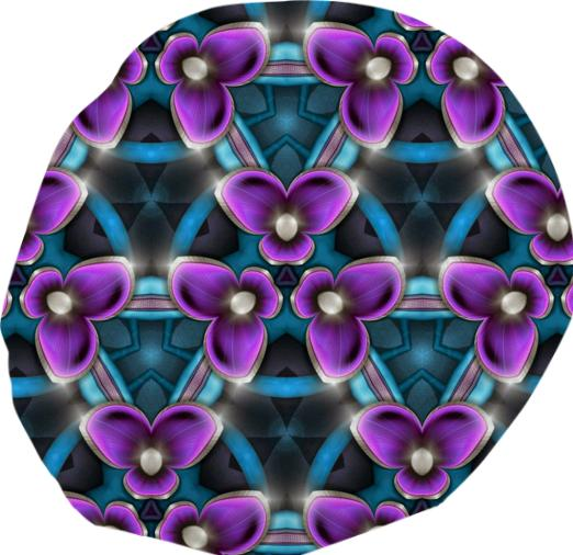 purple flowers on teal pattern bean bag