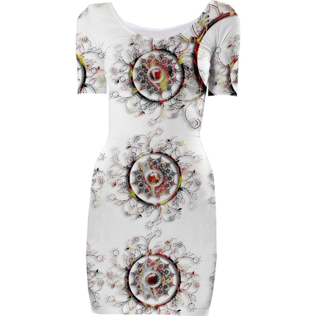 Abstract Circles and Floral Bodycon Dress