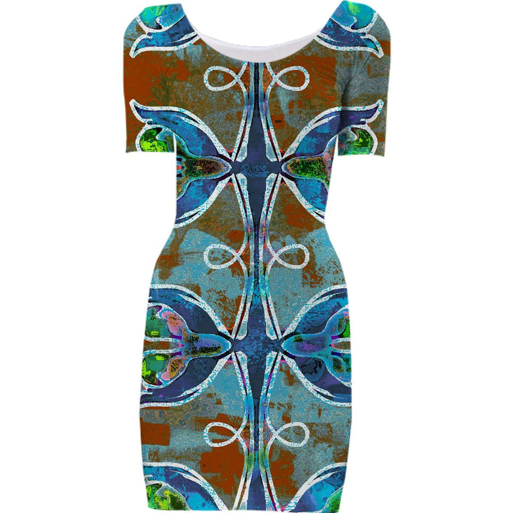 Abstract Pattern Bodycon Dress