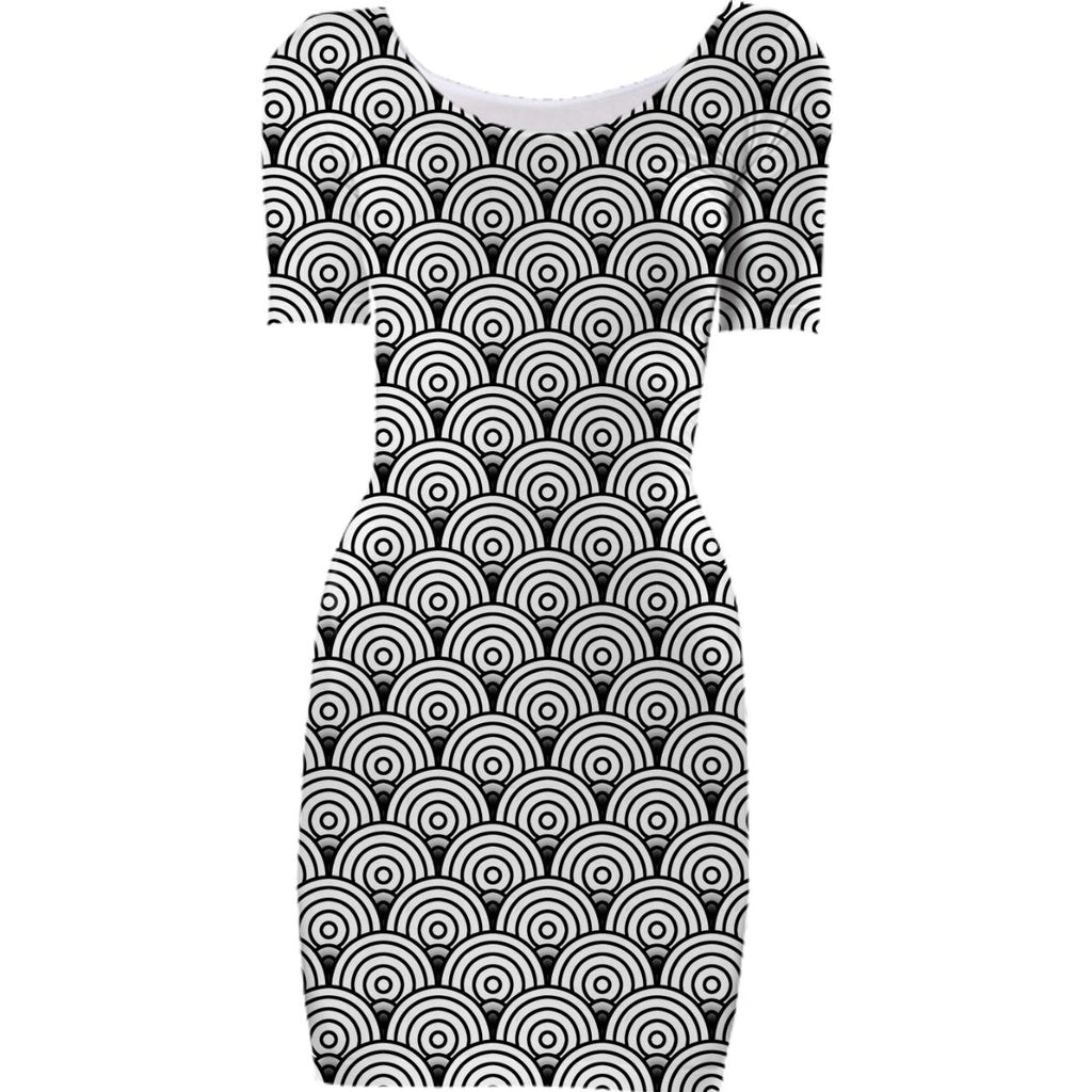 Black and Right Circles Bodycon Dress