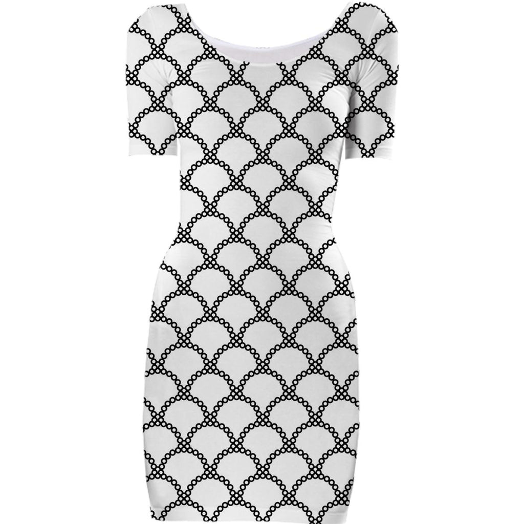 Black and White Circle Bodycon Dress