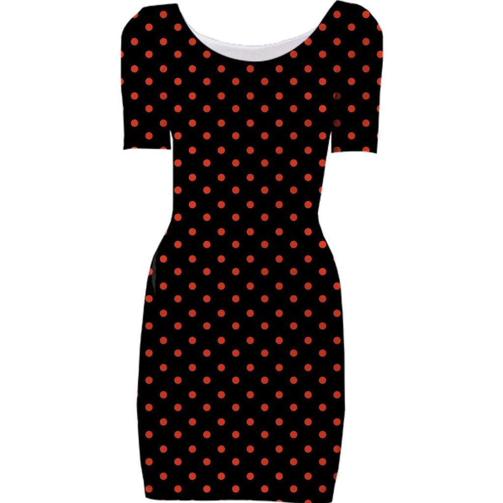 Black with Red Polka Dots Bodycon Dress
