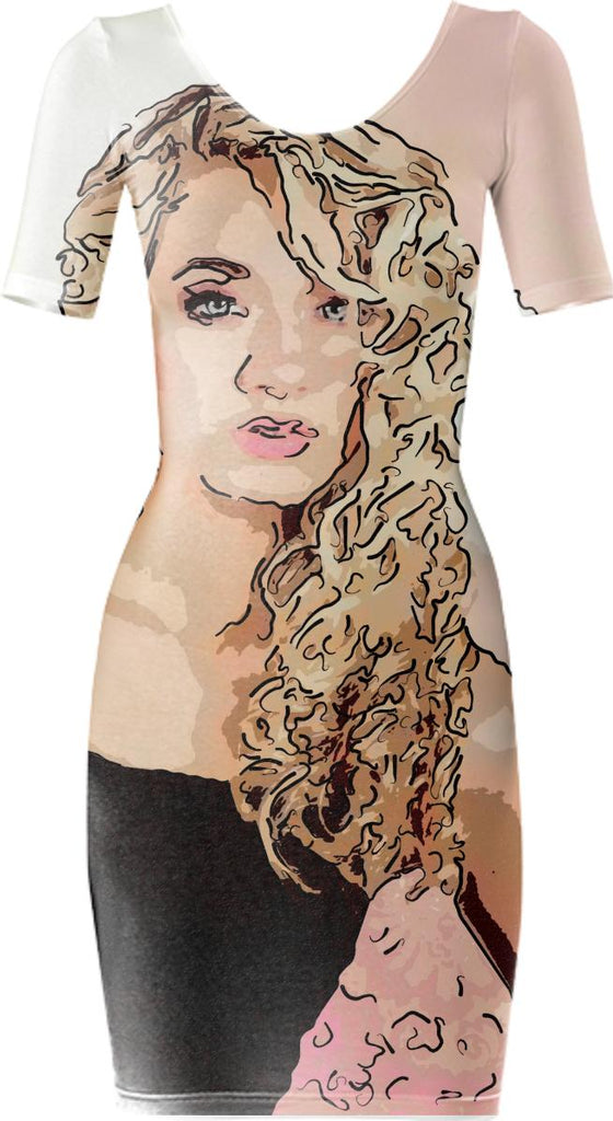 Blond Art Bodycon Dress