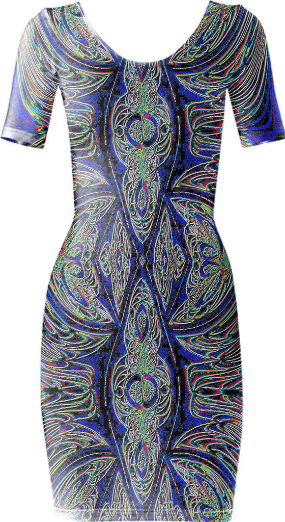 Blue Neon Fractal Bodycon Dress