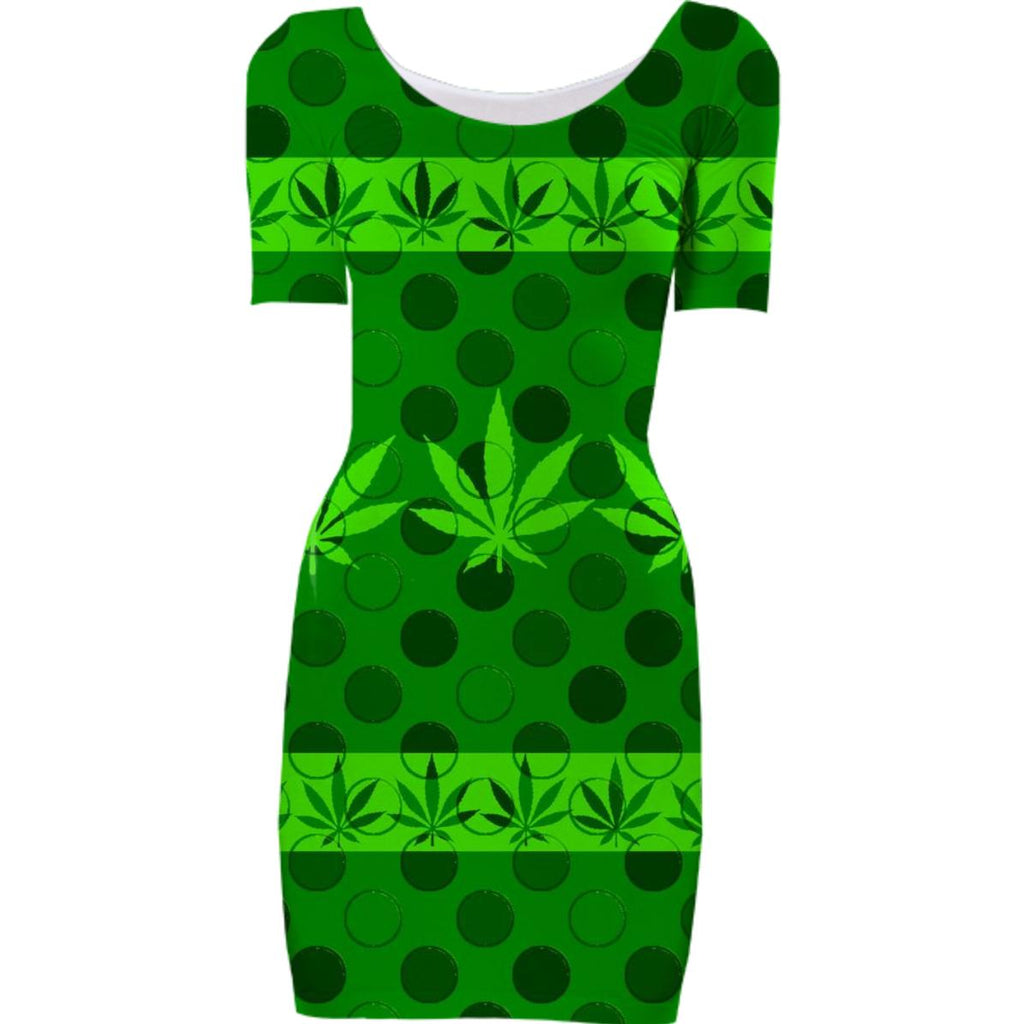 Cannabis Leaves and Polka Dots Bodycon Dress