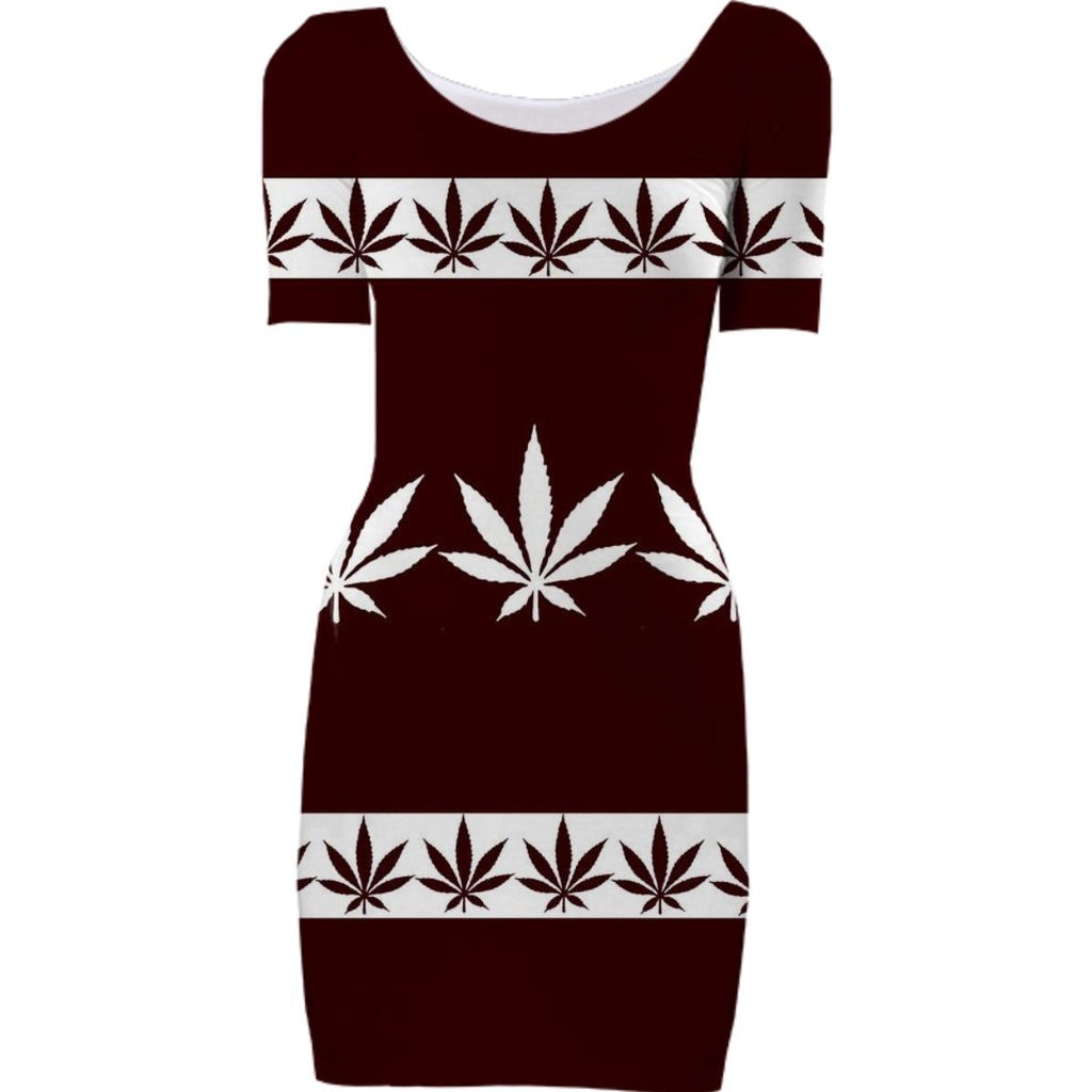 Cannabis Leaves Bodycon Dress