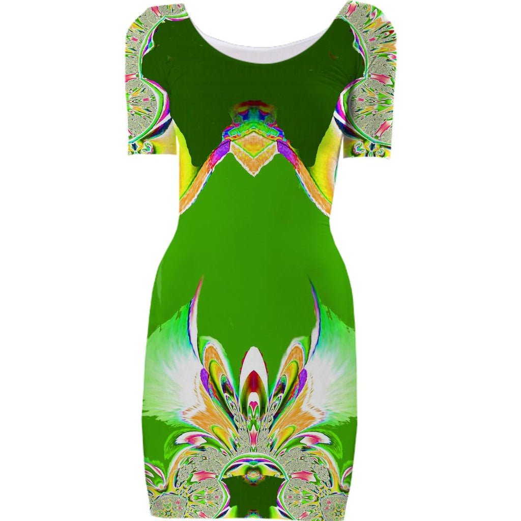 Green Abstract Fantasy Bodycon Dress