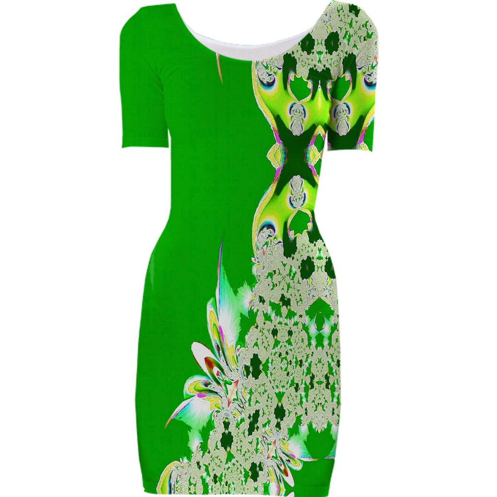 Green Feathers n Lace Bodycon Dress