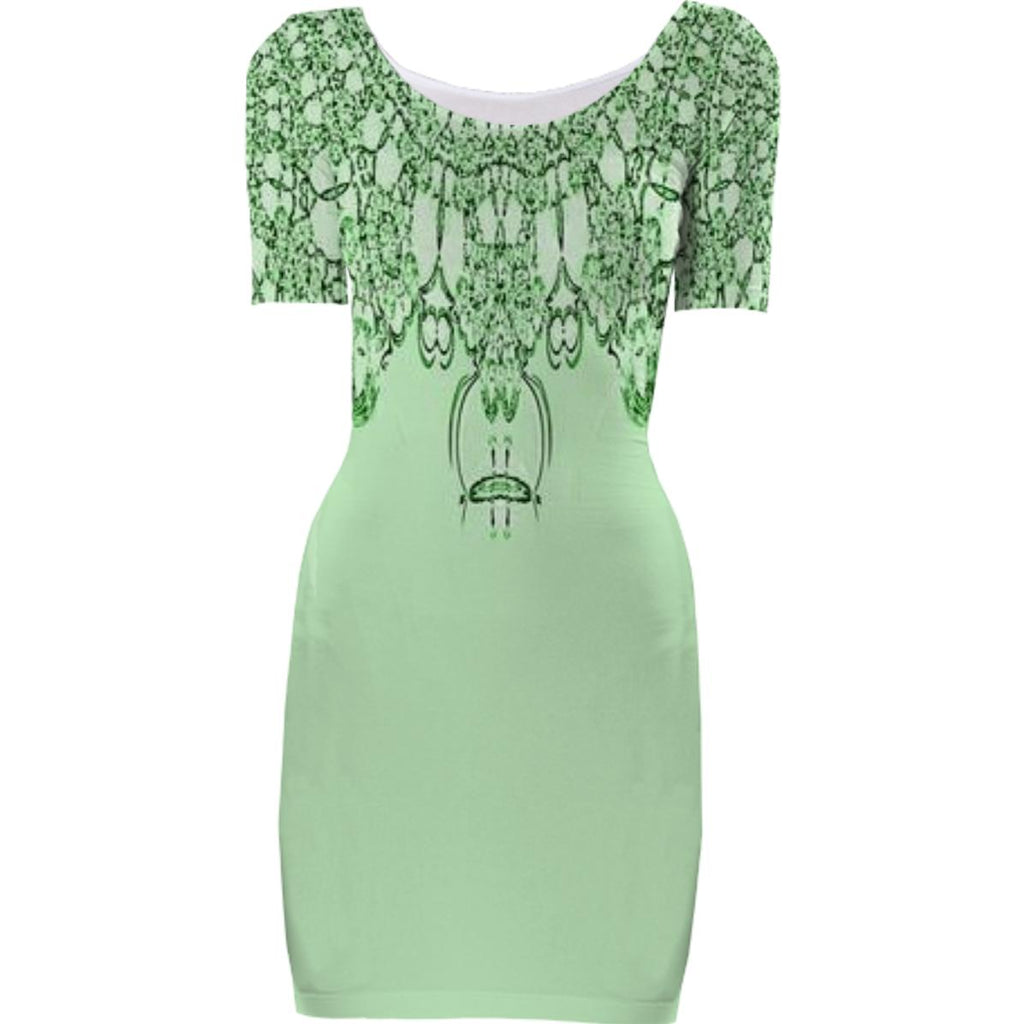 Green Lace Top Bodycon Dress