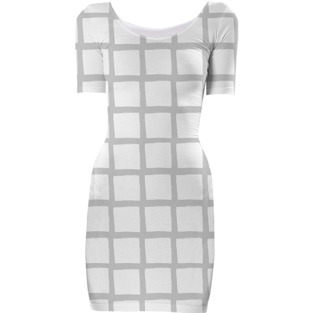 Grey and White Grid Bodycon Dress