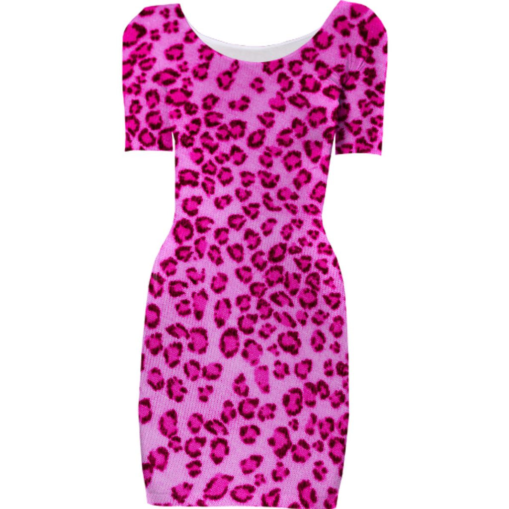 Hot Pink Leopard Print Bodycon Dress