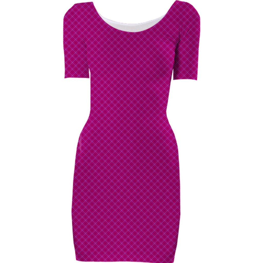 Hot Pink Plaid Bodycon Dress