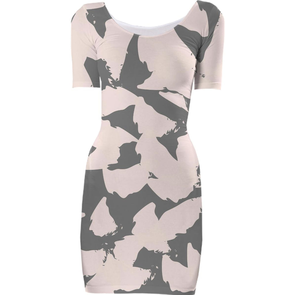 Pastel Pink Bird Wings on Gray Bodycon Dress