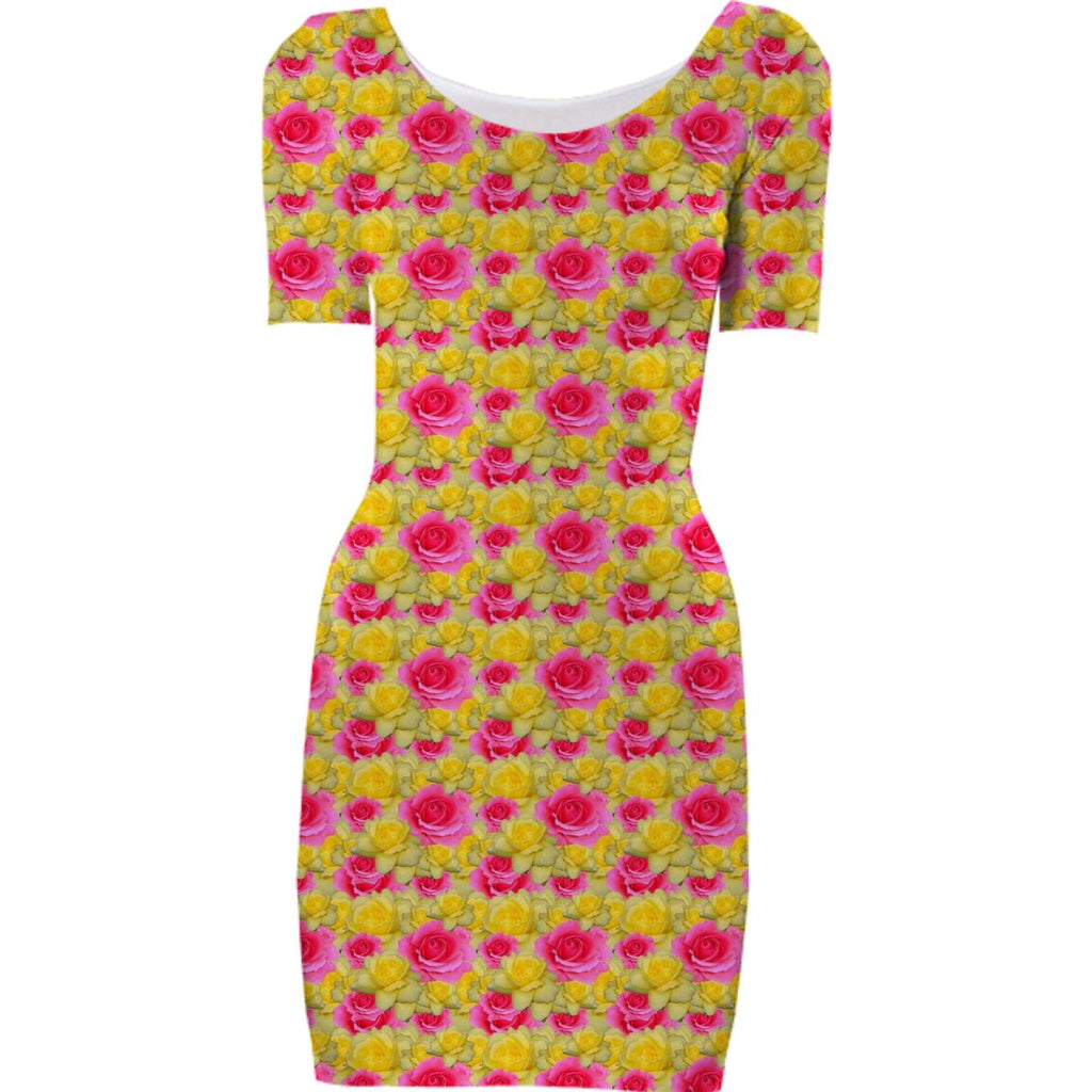 Pink and Yellow Floral Bodycon Dress