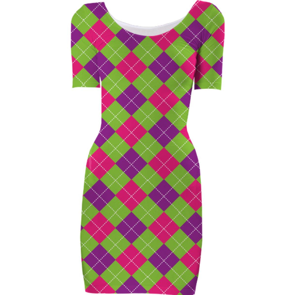 PINK PURPLE GREEN ARGYLE PATTERN BODYCON DRESS