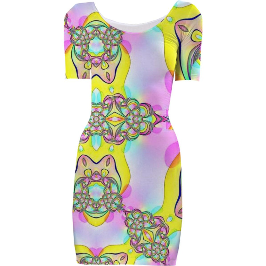 Pink Yellow Abstract Bodycon Dress