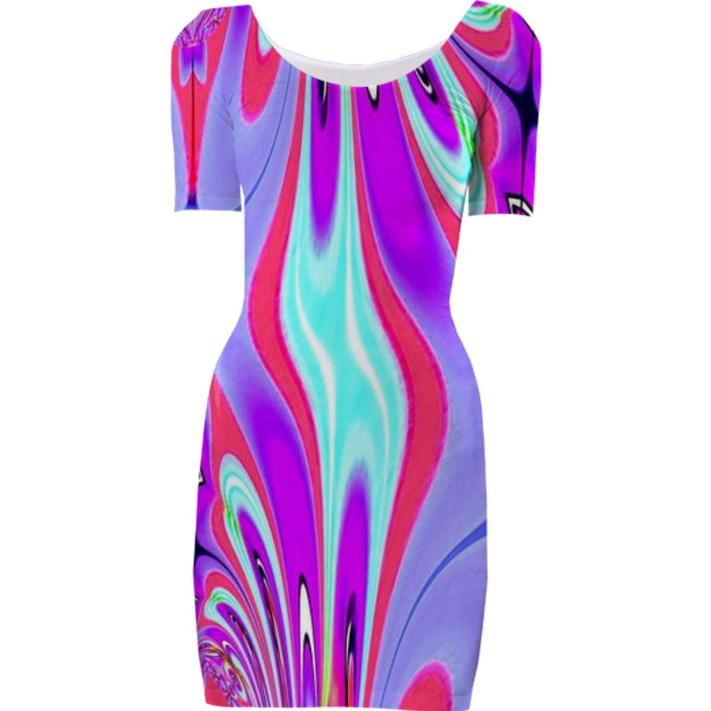 Purple Aqua Abstract Bodycon Dress