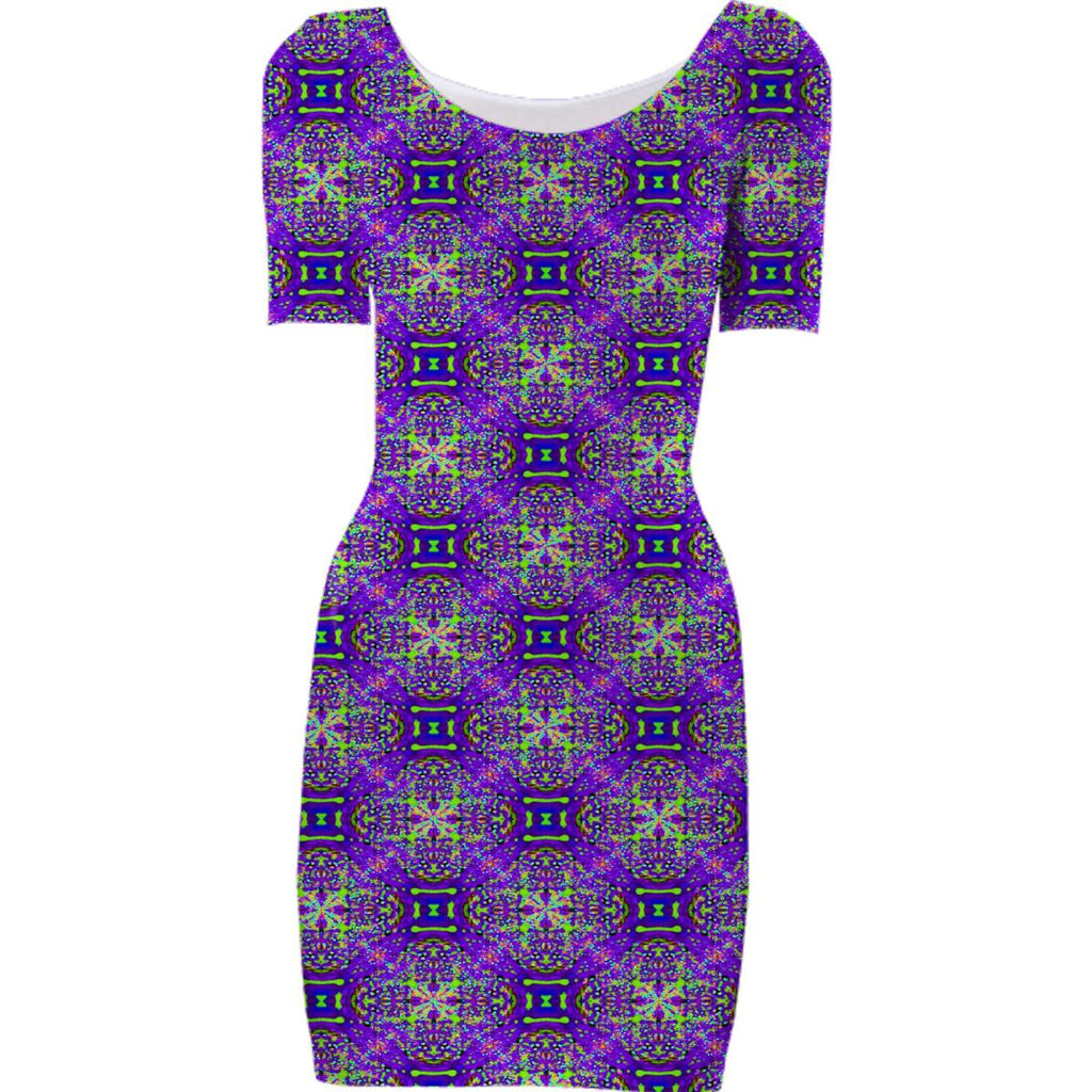 Purple Green Pattern Bodycon Dress
