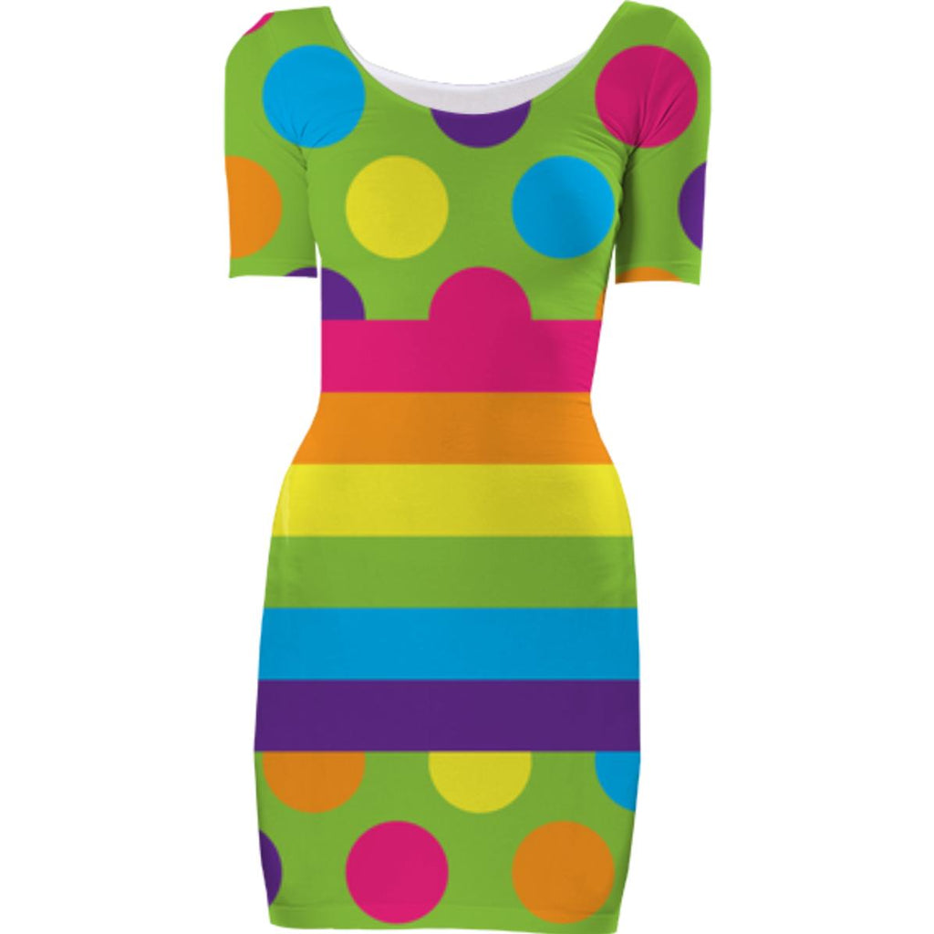 RAINBOW POLKA DOTS STRIPED BODYCON DRESS