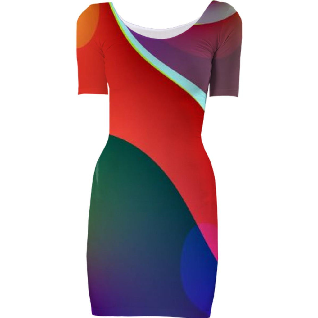 Red Purple Abstract Bodycon Dress
