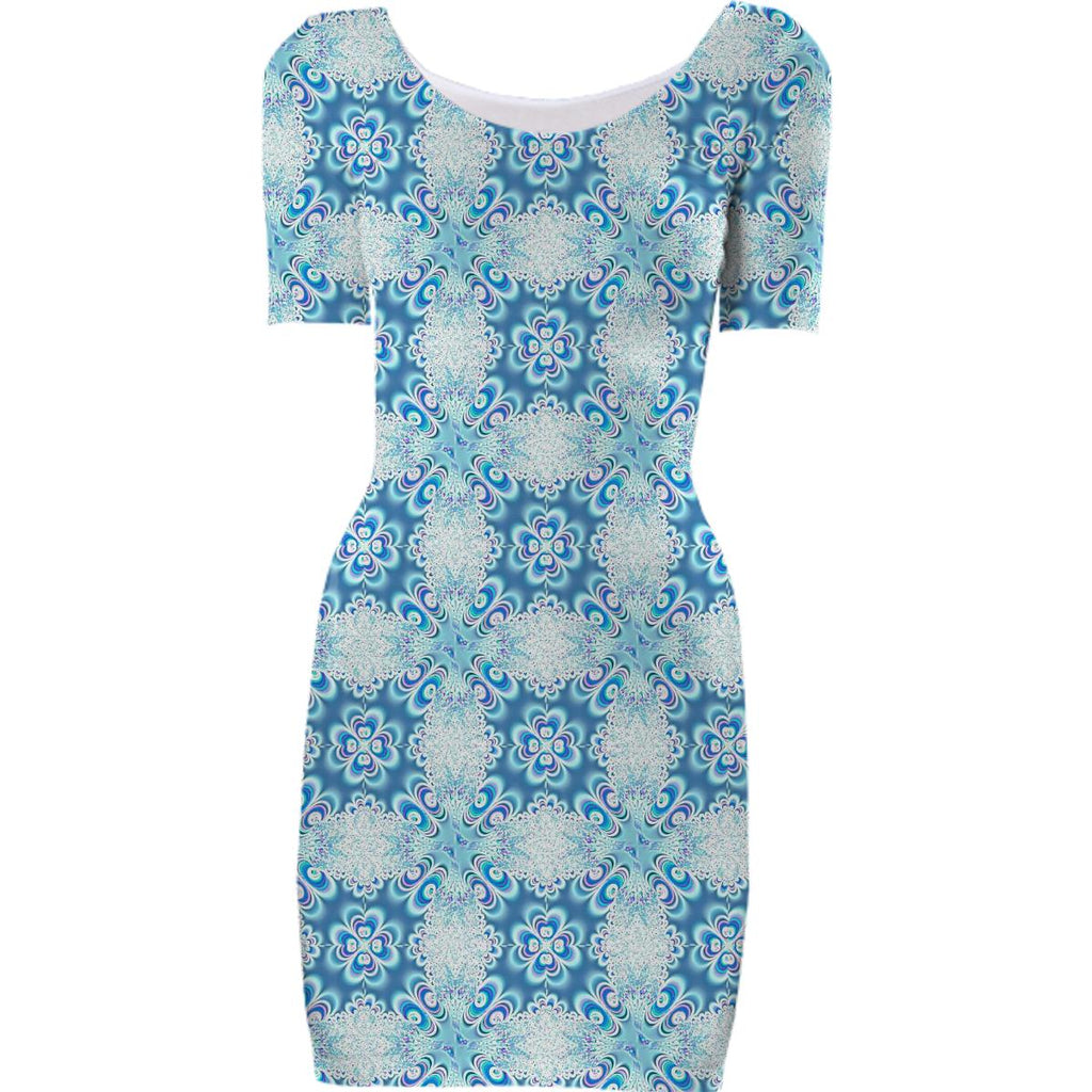 Sea Blue White Flower Bodycon Dress