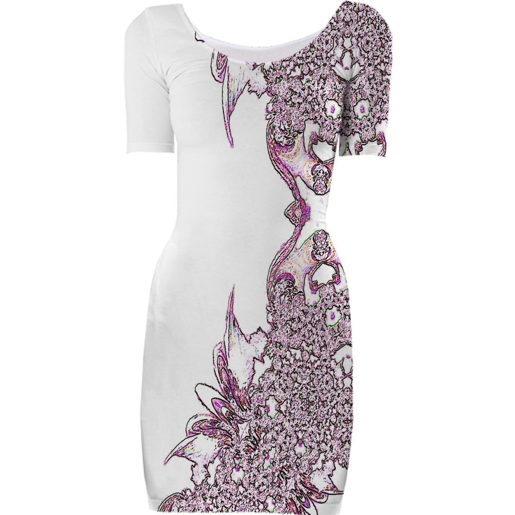 White Pink Abstract Feathery Bodycon Dress